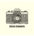 Dotwork old retro camera vector image