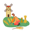 farmer or worker mowing wheat scy vector image vector image