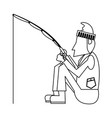 fisherman with rod in black and white vector image vector image