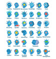 Flat pictogram icons set of human brain working vector image