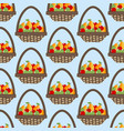 fruit apple pear basket pattern vector image vector image