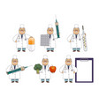 funny old man doctor with huge medical objects vector image vector image