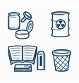 garbage of several kinds and office trash bin vector image vector image