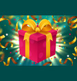 gift box and magic light fireworks and confetti vector image vector image