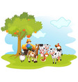 group domestic animals in a farm isolated vector image vector image