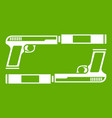 gun icon green vector image
