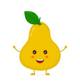 happy cute smiling funny pear flat vector image