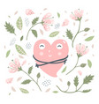 heart love hug and flowers vector image vector image