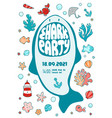 invitation sea party shark teeth lettering shark vector image vector image