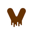 letter v chocolate font sweetness alphabet liquid vector image vector image