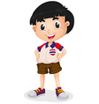 Little boy wearing shirt and shorts vector image vector image