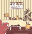 modern interior of living room design hand drawing vector image vector image