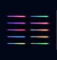 neon lights tubes set glowing lines collection vector image vector image