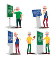 old man using atm digital terminal set vector image vector image