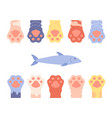 pet paws funny cat foots background isolated vector image vector image