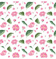 pink sakura flowers and green leaflets seamless vector image