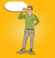 pop art smart guy holding golden bitcoin vector image vector image