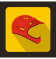 Red bicycle helmet icon flat style vector image vector image