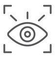 retina scanner line icon recognition vector image vector image