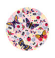 round composition with butterfly and bug vector image vector image