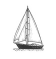 sailing yacht boat sketch vector image vector image