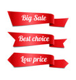 sale red ribbon banners with text vector image vector image