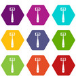selfie stick with mobile phone icon set color vector image vector image
