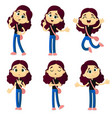 set emotions cute young girl cartoon style vector image