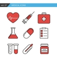Set of medical icons executed in a linear flat vector image