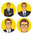 set of mens pop art round vector image