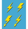Set of yellow lightnings background vector image vector image