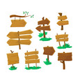 set old wooden blank signboards isolated vector image