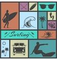 set surfing icons vector image