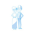 silhouette happy couple together and romantic vector image vector image