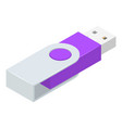 Steel usb flash icon isometric style
