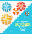 summer time banner with a beach umbrella vector image vector image