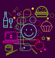 Symbols of ordering food via the Internet on vector image