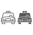 taxi line and glyph icon traffic and car cab vector image vector image