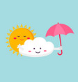 the funny cloud and sun vector image