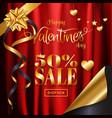 Valentines day sale background red satin cloth