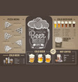 vintage beer menu design on cardboard vector image vector image