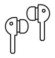 wireless earbuds icon outline style vector image vector image