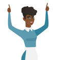 young african cleaner standing with raised arms up vector image vector image