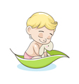 kid with a toy in a boat vector image