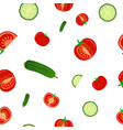 seamless pattern of ripe cucumbers and tomato vector image