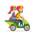 a man and a woman riding a motorcycle vector image vector image
