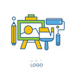abstract logo in line style with easel for drawing vector image
