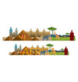 africa skyline landmarks with text or word vector image vector image