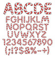 alphabet numbers and signs from red candies vector image vector image