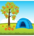 Blue tent under tree vector image vector image
